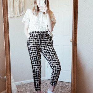 ANTHRO HEI HEI Black Boho Patterned Pants sz S